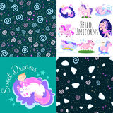 Cute unicorn seamless pattern, magic pegasus flying with wing and horn on rainbow, fantasy horse vector illustration Stock Photography