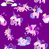 Cute unicorn seamless pattern, magic pegasus flying with wing and horn on rainbow, fantasy horse vector illustration Stock Images