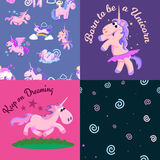 Cute unicorn seamless pattern, magic pegasus flying with wing and horn on rainbow, fantasy horse vector illustration Stock Image