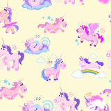 Cute unicorn seamless pattern, magic pegasus flying with wing and horn on rainbow, fantasy horse vector illustration Royalty Free Stock Image