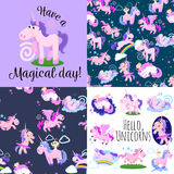 Cute unicorn seamless pattern, magic pegasus flying with wing and horn on rainbow, fantasy horse vector illustration. Myth creature dreaming background Stock Photos