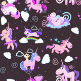 Cute unicorn seamless pattern, magic pegasus flying with wing and horn on rainbow, fantasy horse vector illustration. Myth creature dreaming background Stock Image