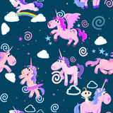 Cute unicorn seamless pattern, magic pegasus flying with wing and horn on rainbow, fantasy horse vector illustration. Myth creature dreaming background Royalty Free Stock Photos
