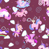 Cute unicorn seamless pattern, magic pegasus flying with wing and horn on rainbow, fantasy horse vector illustration. Myth creature dreaming background Royalty Free Stock Photo