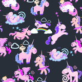 Cute unicorn seamless pattern, magic pegasus flying with wing and horn on rainbow, fantasy horse vector illustration. Myth creature dreaming background Royalty Free Stock Images