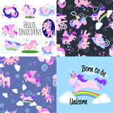 Cute unicorn seamless pattern, magic pegasus flying with wing and horn on rainbow, fantasy horse vector illustration. Myth creature dreaming background Stock Images