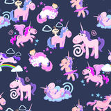 Cute unicorn seamless pattern, magic pegasus flying with wing and horn. On rainbow, fantasy horse vector illustration, myth creature dreaming background vector illustration