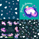 Cute unicorn seamless pattern, magic pegasus flying with wing and horn on rainbow, fantasy horse vector illustration. Myth creature dreaming background Stock Photo