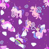 Cute unicorn seamless pattern, magic pegasus flying with wing and horn on rainbow, fantasy horse vector illustration. Myth creature dreaming background Royalty Free Stock Photography