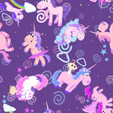 Cute unicorn seamless pattern, magic pegasus flying with wing and horn on rainbow, fantasy horse vector illustration Stock Photos