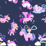 Cute unicorn seamless pattern, magic pegasus flying with wing and horn. On rainbow, fantasy horse vector illustration, myth creature dreaming background Royalty Free Stock Photos