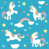 Cute unicorn seamless pattern. Vector illustration of a cute little unicorn with rainbow hair in four different poses, created as a seamless pattern, but all stock illustration