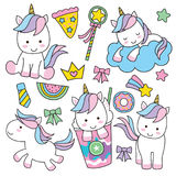 Cute Unicorn Set Stock Image