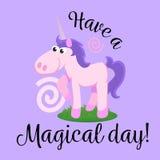 Cute unicorn  set, magic pegasus flying with wing and horn on rainbow, fantasy horse vector illustration, myth Stock Photography