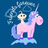 Cute unicorn  set, magic pegasus flying with wing and horn on rainbow, fantasy horse vector illustration, myth Stock Photo