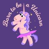 Cute unicorn  set, magic pegasus flying with wing and horn on rainbow, fantasy horse vector illustration, myth Royalty Free Stock Photos