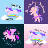 Cute unicorn  set, magic pegasus flying with wing and horn on rainbow, fantasy horse vector illustration, myth Royalty Free Stock Image