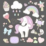 Cute unicorn set. Cute uniccorn set with cloud, rainbow and another cute item such as cupcake, diamond, lollipop etc Vector Illustration