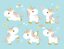 Cute Unicorn Set vector illustration