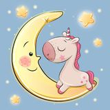 Cute Unicorn is sitting on the moon. Cute Cartoon Unicorn is sitting on the moon stock illustration