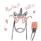 Cute unicorn with a smart phone. Hand drawn portrait of a cute funny unicorn in glasses with a smart phone, taking selfie. Isolated objects on white background Royalty Free Stock Photo