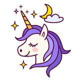 Cute unicorn with sparkles and moon vector illustration. Simple. Color flat line doodle icon contemporary style design element isolated in white. Magical Royalty Free Stock Photo