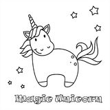 Cute unicorn vector linen illustration for coloring book.Isolated on white background. Magic cute unicorn, stars and rainbow. Poster, greeting card, vector royalty free illustration