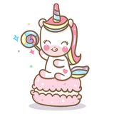 Cute Unicorn vector with macaron and candy stock illustration