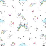 Cute unicorn vector pattern stock image