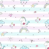 Cute unicorn vector pattern stock photography