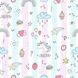 Cute unicorn vector pattern stock illustration