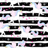 Cute unicorn vector pattern royalty free stock image