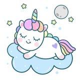 Cute Unicorn vector pony cartoon with moon on cloud, magic sleeping time for sweet dream stock illustration