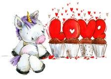 Cute unicorn watercolor illustration. love card. Valentine day background Stock Photo
