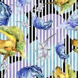 Cute unicorn. Watercolor illustration. Watercolour drawing. Seamless background pattern. Fabric wallpaper print texture. Cute unicorn horse. Fairytale children royalty free illustration