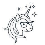 Cute unicorn wearing eyeglasses single color outline illustration. Simple line doodle icon, coloring book page. Magic, fantasy, e. Ducation, school, learning royalty free illustration