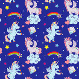 Cute unicorns, clouds, rainbow magic wand vector seamless pattern Royalty Free Stock Images