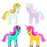 Cute unicorns. Fairy pony, magic horses for kids, babies. Vector illustration. Cute unicorns. Fairy pony. Colorful magic horses. Vector illustration, stickers Stock Photos