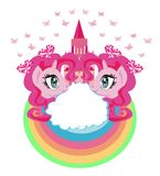 Cute unicorns and fairy-tale princess castle Royalty Free Stock Photo