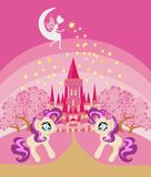 Cute unicorns and fairy-tale princess castle. Vector Illustration Stock Image