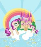 Cute unicorns and fairy-tale princess castle. Vector Illustration Royalty Free Stock Photos