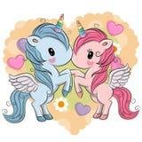 Cute Unicorns on a hearts background
