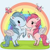 Cute Unicorns on a rainbow background