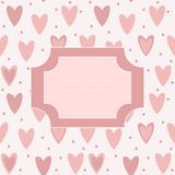 Cute unique post card with pink hearts and dots Royalty Free Stock Photos