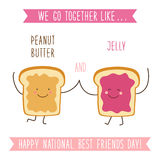 Cute unusual National Best Friends Day card as funny hand drawn cartoon characters and hand written text. We Go Together like Peanut Butter and Jelly stock illustration