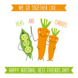 Cute unusual National Best Friends Day card as funny hand drawn cartoon characters and hand written text royalty free illustration