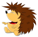 Cute unusual vector cartoon laughing hedgehog Stock Images