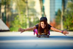 Cute urban girl in skate park Royalty Free Stock Photography