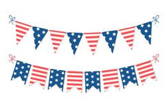 Cute USA festive bunting flags in traditional colors ideal as american holidays banner. Cute USA festive bunting flags in traditional colors for your decoration vector illustration