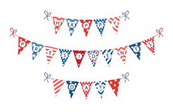 Cute USA festive bunting flags in traditional colors ideal as american holidays banner. Cute USA festive bunting flags in traditional colors for your decoration stock illustration